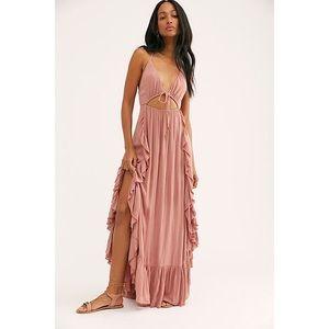 NWT Free People Yvette maxi dress XS rose pink